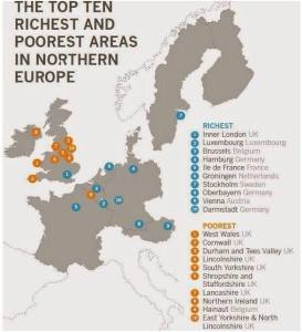 The top ten richest and poorest places in europe