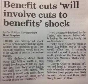 Benefit cuts 'will involve cuts to Benefits' shock