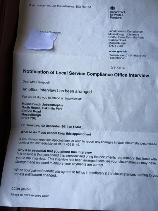 dwp letter to gran
